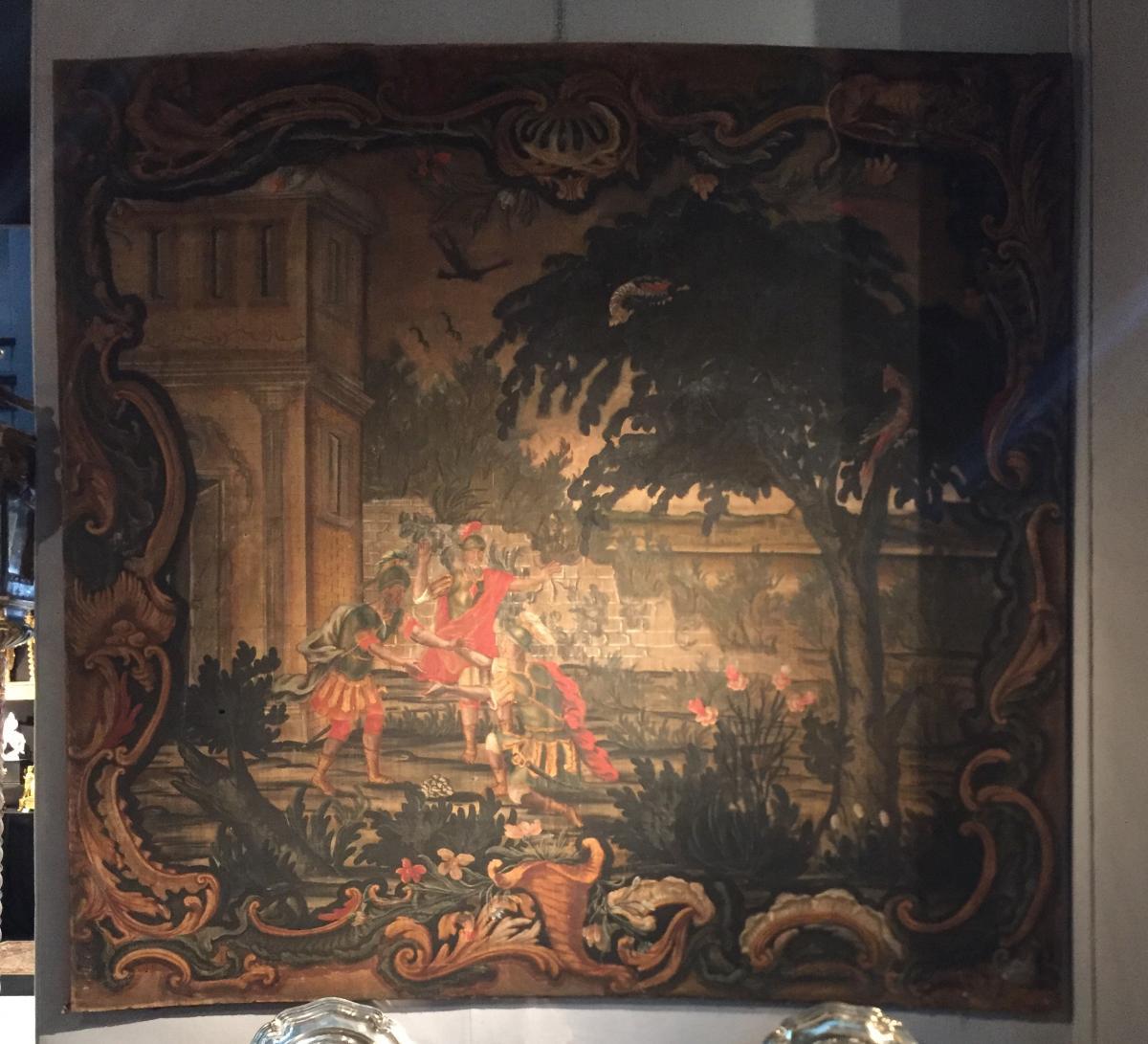 Ensemble de 2 toiles peintes XVIIème