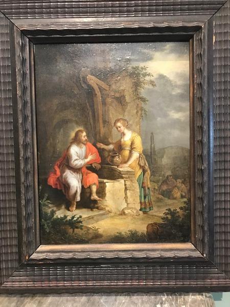 Huile sur panneau XVIIème «La bonne Samaritaine»