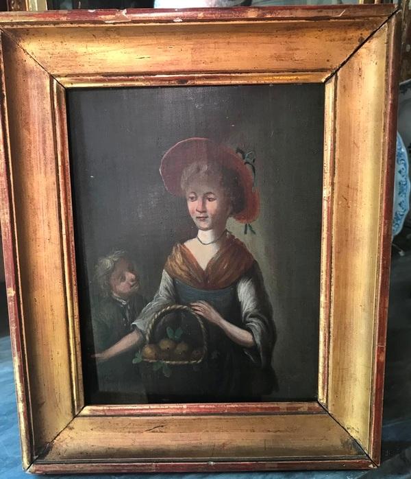 Huile sur panneau XVIIIème «jeune femme et enfant»