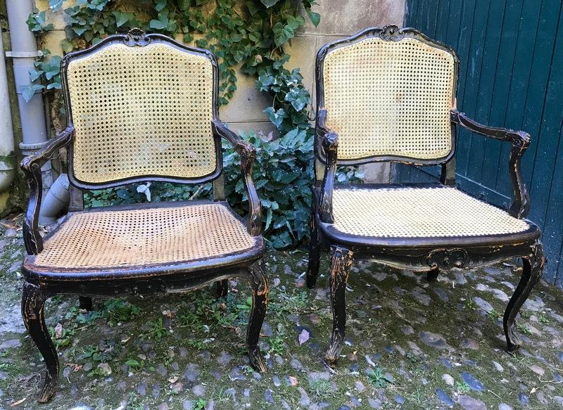 Paire de fauteuils cannés estampillés E.Meunier