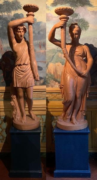 Paire de statues terre cuite XIXème