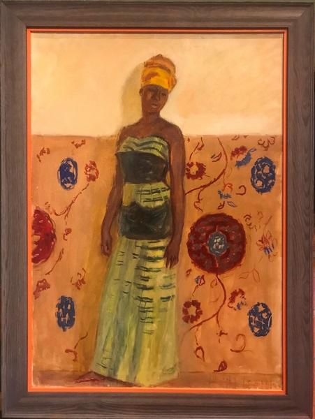 Tableau H/T portrait d'africaine de G.A Klein