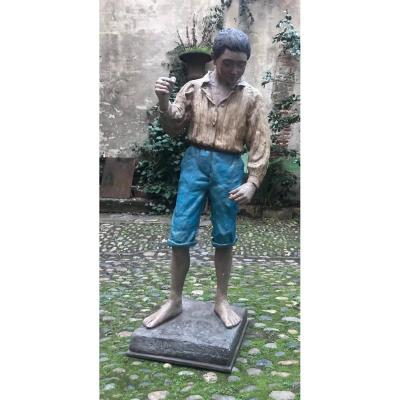 Sculpture en stuc Art Déco l'enfant à la fronde
