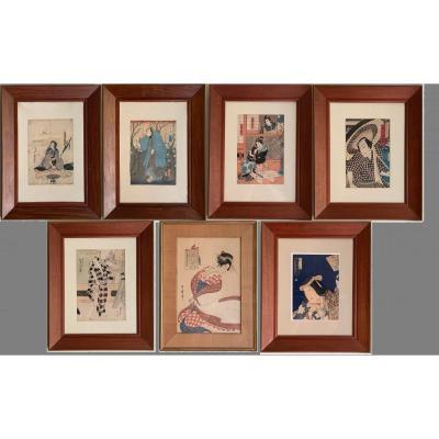 Ensemble de sept estampes japonaises