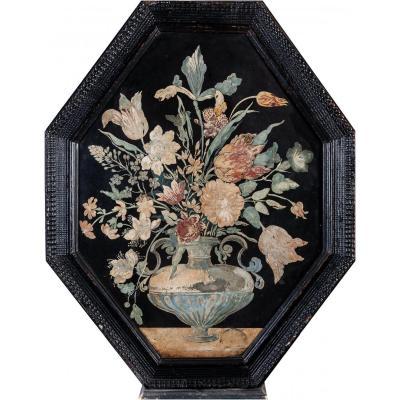 Tableau bouquet de fleurs  scagliola XVIIème