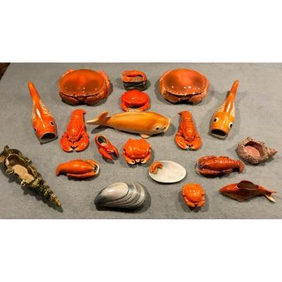 Coquillages et crustacés en céramique
