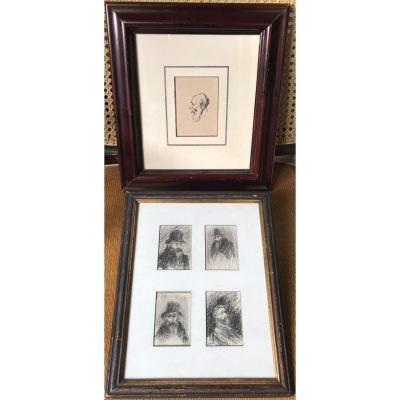 Deux dessins encadrés de Théophile Alexandre Steinlen (1859-1923)