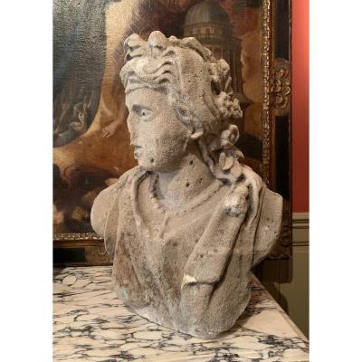 Buste de jeune femme en pierre XVIIème siècle