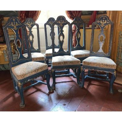 Ensemble de 6 chaises vénitiennes XVIIIème siècle