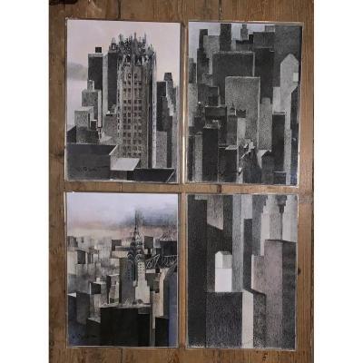Ensemble de 4 dessins vues de New York signés