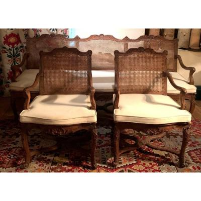 Canapé et 2 fauteuils cannés époque Régence