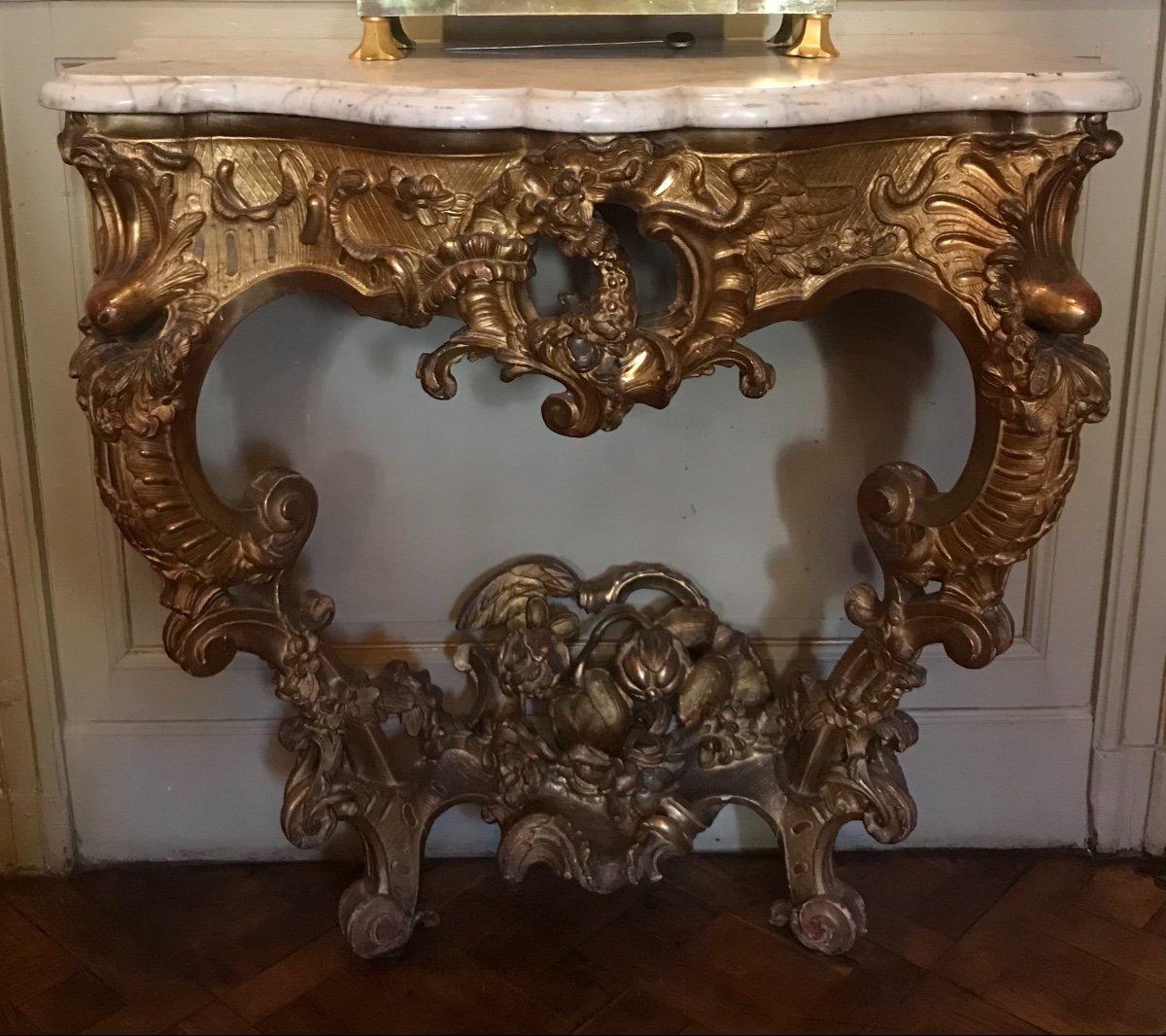 Console en bois doré XVIIIème siècle